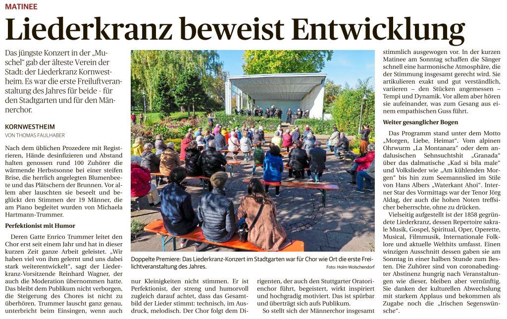Bericht der Ludwigsburger Kreiszeitung vom 6. Oktober 2020.