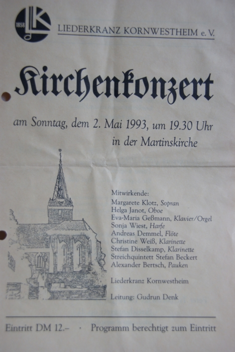 Liederkranz Kornwestheim: Plakat Kirchenkonzert 1993